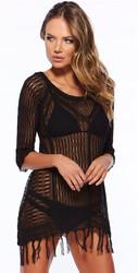 Latest Long Sleeve Swimwear Beachwear Cover Up Black