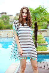 Stylish White & Black Stripes With Green tassels Globule Blouse