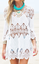 Wholesale Sexy Embroidered Swimsuit Cover Up Beachdress