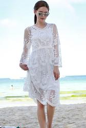 White Lace Translucent Embroider Elegant Dress