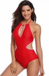 Solid Red Girl Bathing Suit One Piece Hommack Hammock Sexy Swimwear