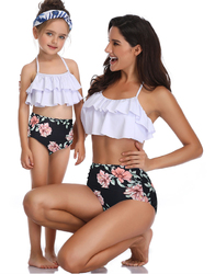 Girls Swimsuit Two Piece Bikini Set Mother and Daughter Swimwear Flowers Print Bathing Suit