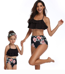 Family Matching Lotus Leaf Edge Flower Print Black Bikini Set Girls Swimwear