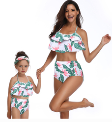 Mommy and Me Swimwear Lotus Leaf Edge Leaves Print Bikini Set Girl Bathing Wear
