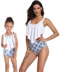 Girl Swimsuit Two Pieces Lotus Leaf Edge Bikini Set Whorl 3D Family Matching Swimwear
