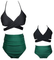 Black Crisscross Solid Color Girl Swimwear  Family Matching Bikini Set