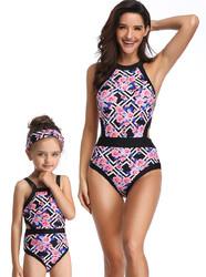 Geometric Flower Print Family Matching Swimsuit One Piece Girl Swimwear