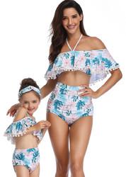 Flower Print One-shouder White Swimsuit Family Matching Girls Bikini Set Swimwear