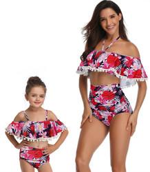 Flower Print One-shoulder Girl Swimsuit Bikini Set Family Matching Swimwear
