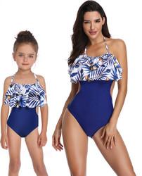 Blue Coconut Lotus Leaf Edge Swimsuit 1 Piece Family Matching Girl Bathing Suit
