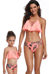 Braided Rope Pink Girl Bikini Set Family Matching Bathing Suit