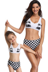 Panda Printed Swimsuit Family Matching Bikini Set Girls Bathing Suit