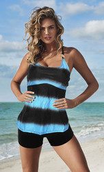 Plus Size Gradient Stripe Print two-pieces swimwear