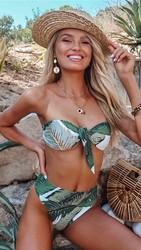 Leave Printing Off Shoulder Front Tie Bikini