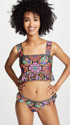 African Print Tankini Swimsuit Two Pieces with ruffle side
