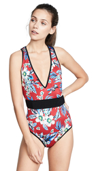 Folra Printed V-Neck One Piece Swimsuit