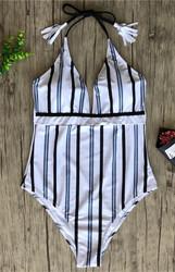 Women V-neck Striped One-piece Swimsuit