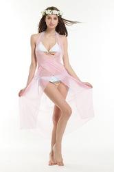 Transparent sexy beach dress pink