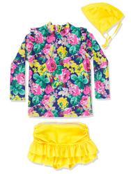 Toddlers Girls 3PCS Chic Swimsuit Long Sleeves Rash Guard Swimwear