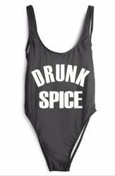 Fashion One Piece Letter Printed Bikini DRUNK SPICE