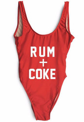 Fashion One Piece Letter Printed Bikini RUM+COKE