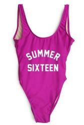 Fashion One Piece Letter Printed Bikini Summer Sixteen