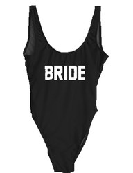 Fashion One Piece Letter Printed Bikini BRIDE