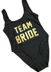 Fashion One Piece High Leg Letter Printed Swimwear TEAM BRIDE