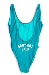 Light blue One piece leak-back letter printed swimwear BABY GOT BACK