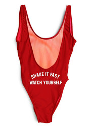 Red One piece leak-back letter printed swimwear SHAKE IT FAST WATCH YOUSELF