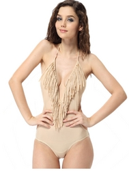 Deep V-Neck  One Piece Bikini Apricot