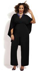 Fashion Deep V-Neck High Waist Plus Size Chiffon Jumpsuit Black