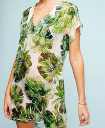 Green leaves chiffon beach bikini top, holiday outfit
