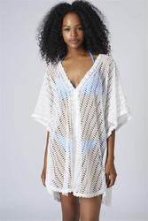 Lace V Neck Hollow Out Crochet Beachwear White