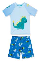 Little Boys 3D Dinosaur Pattern Short Sleeves Rash Guard Swimwear