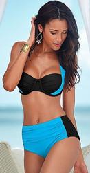 High- waist Women Bikini with Assorted Colors Black and  Light Blue