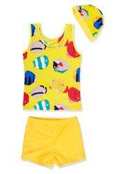 Toddler Boys Sleeveless Swimsuit Set Vest Short Pants with Hat