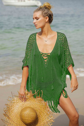 Tassel Hollow-Out Cover-Up Blouse