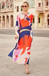 Artistic Colorful Floral Print Chiffon Beach Dress