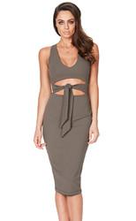 2017 Women Low V Neck Sleeveless Bodycon Cocktail Party Midi Dress Grey