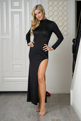 Sexy Women Turtleneck Skinny Maxi Dress With High Slit At Side Details