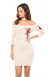 2017 Womens Sexy Embroidery Suede Halter Bodycon Dress Clubwear White