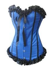 Blue Strapless Burlesque Corset