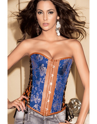 Elegant Multi-Fabric Corset Blue