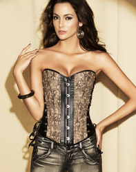 Elegant Multi-Fabric Corset Brown