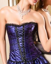 Flower Lace Boned Corset Purple
