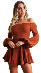 Sexy off shoulder long lantern sleeve mini dress