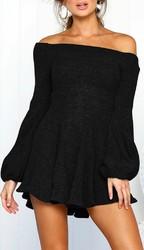 Sexy off shoulder long lantern sleeve mini dress