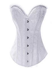Gothic Brocade Diamond Embellish Corset White