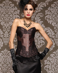 Brown Lace Overlay Burlesque Corset